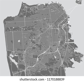vector map of the city of San Francisco, USA