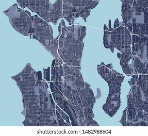 vector map of the city of Seattle, Washington, USA
