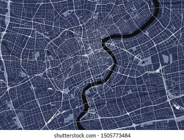 vector map of the city of Shanghai, China