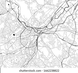 vector map of the city of Sheffield, South Yorkshire, Yorkshire and the Humber England, UK