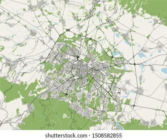 vector map of the city of Sofia, Bulgaria