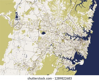 vector map of the city of Sydney, New South Wales, Australia