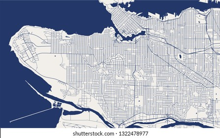 vector map of the city of Vancouver , Canada