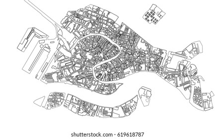 vector map of the city of Venice, Italy