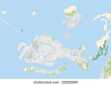 vector map of the city of Venice and Murano