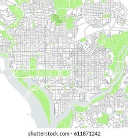 vector map of the city of Washington D.C., USA