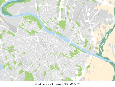 vector map of the city of Zaragoza, Spain
