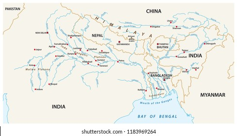vector Map of the combined catchment areas of the Ganges, Brahmaputra and Meghna rivers.