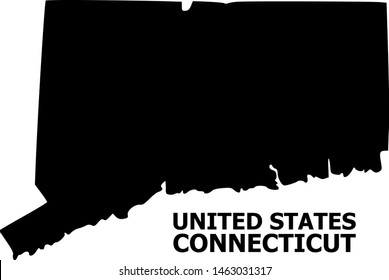 Vector Map of Connecticut State with title. Map of Connecticut State is isolated on a white background. Simple flat geographic map.