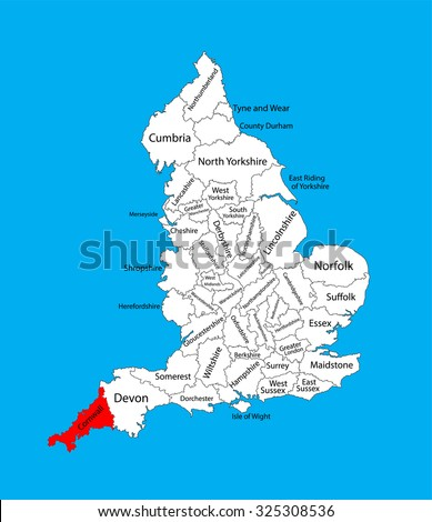 Map Of England Cornwall.Vector Map Cornwall South West England Stock Vector Royalty Free