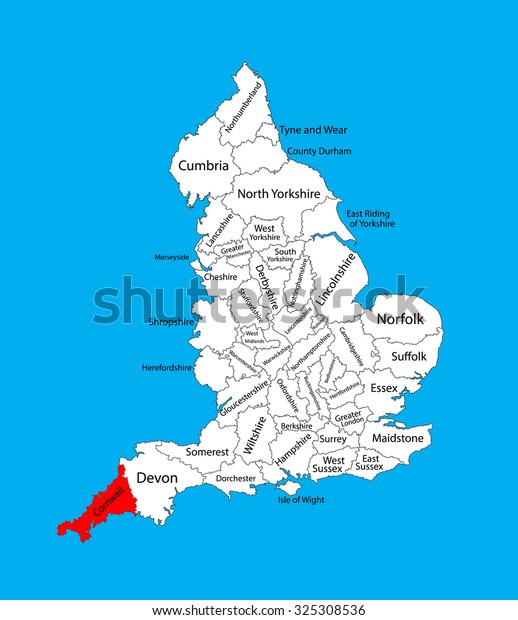 Map Of Uk Showing Regions.Vector Map Cornwall South West England Stock Vector Royalty Free