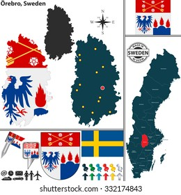 Vector map of county Orebro with coat of arms and location on Sweden map