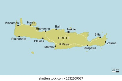 vector map of Crete with important cities and roads Greece island geography cartography