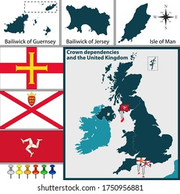 Vector map of crown dependencies islands in Great Britain with the Bailiwick of Guernsey, the Bailiwick of Jersey and the Isle of Man