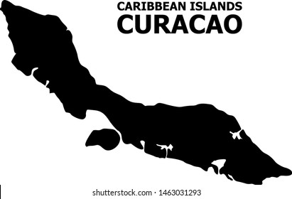 Vector Map of Curacao Island with name. Map of Curacao Island is isolated on a white background. Simple flat geographic map.
