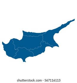 Vector map Cyprus. Isolated vector Illustration. Black on White background