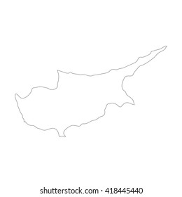 Vector map Cyprus. Outline map. Isolated vector Illustration. Black on White background. EPS 8 Illustration.