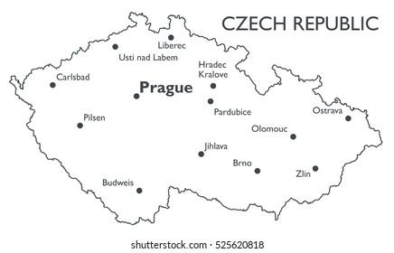 Vector map of Czech republic | Monochrome contour map with city names