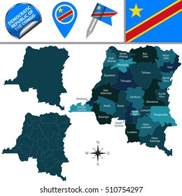 Vector map of Democratic Republic of the Congo with named provinces and travel icons