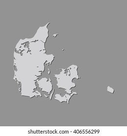 Vector map Denmark. Gray Isolated vector Illustration. On Grey background. With shadow. EPS 10 Illustration.