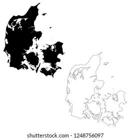 Vector map Denmark. Isolated vector Illustration. Outline and vector. Black on White background. EPS 10 Illustration.