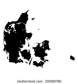 Vector map Denmark. Isolated vector Illustration. Black on White background. EPS Illustration.