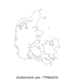Vector map Denmark. Isolated vector Illustration. Black on White background. EPS 10 Illustration.