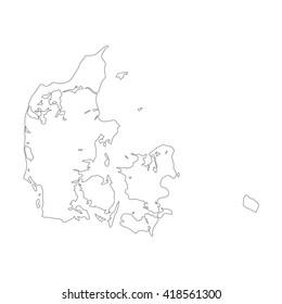 Vector map Denmark. Outline map. Isolated vector Illustration. Black on White background. EPS 8 Illustration.