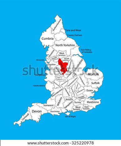 Map Of England Derbyshire.Vector Map Derbyshire East Midlands United Stock Vector Royalty