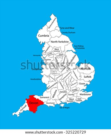 South Devon England Map.Vector Map Devon South West England Stock Vector Royalty Free