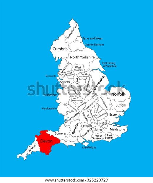 Vector Map Devon South West England Stock-Vrgrafik (Lizenzfrei ... on