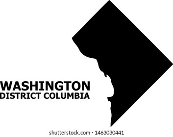 Vector Map of District Columbia with name. Map of District Columbia is isolated on a white background. Simple flat geographic map.