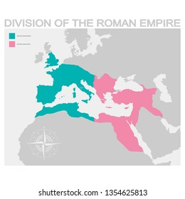 vector map of the Division of the Roman Empire