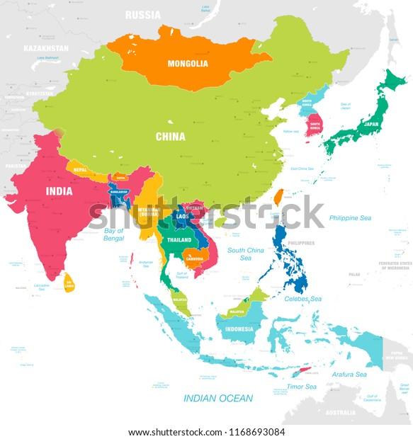 Vektori Kartta Ita Aasian Mantereen Kanssa Maat Arkistovektori