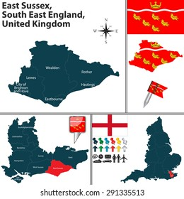 Vector map of East Sussex, South East England, United Kingdom with regions and flags