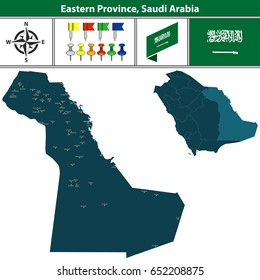 Vector map of Eastern Province region with flag, icons and location on Saudi Arabian map.