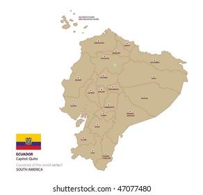 Vector map of Ecuador