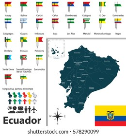 Vector map of Ecuador with regions and flags of provinces