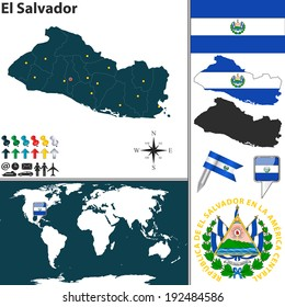 El salvador flag stock vectors images vector art shutterstock vector map of el salvador with regions coat of arms and location on world map gumiabroncs Gallery