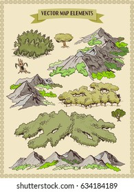 Vector map elements, colorful, hand draw - forest, mountains, trees