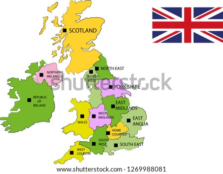 Country Map Of England.Vector Map England Uk Map England Stock Vector Royalty Free