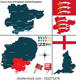 Vector map of Essex in East of England, United Kingdom with regions and flags