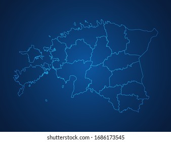 Vector map of Estonia abstract blue line scales on dark background.