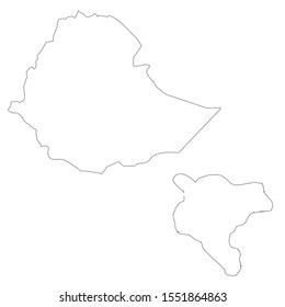 Vector map Ethiopia and Addis Ababa. Country and capital. Isolated vector Illustration. Outline. EPS 10 Illustration.