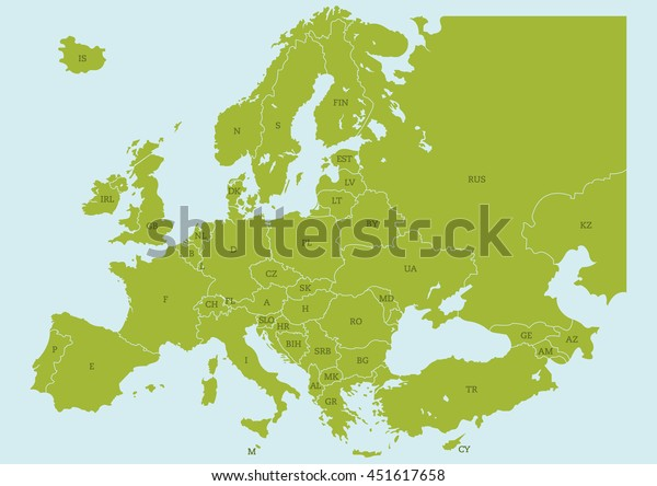 Vector Map Europe Borders Country Codes Stock Vector