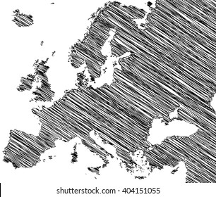vector map of the Europe drawing in black marker on a white background. Sketch Europe map for infographics, brochures and presentations