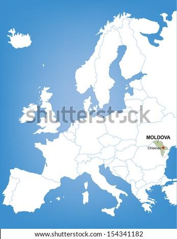 Vector Map Europe Highlighting Country Moldova Stock Vector Royalty