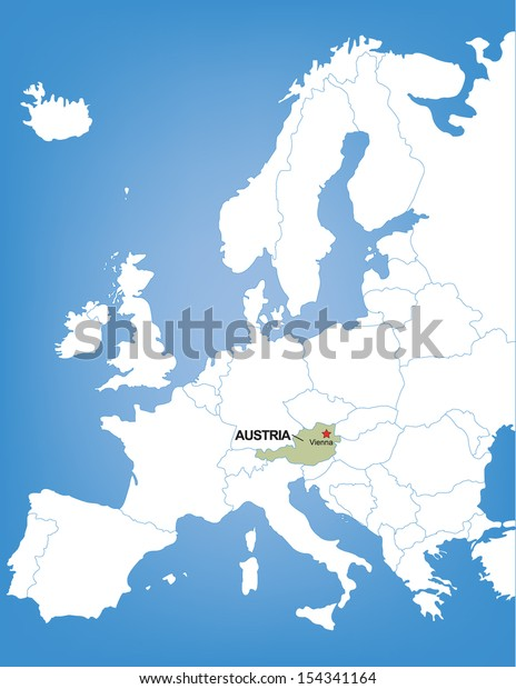 Map Of Europe With Austria.Vector Map Europe Highlighting Country Austria Royalty Free