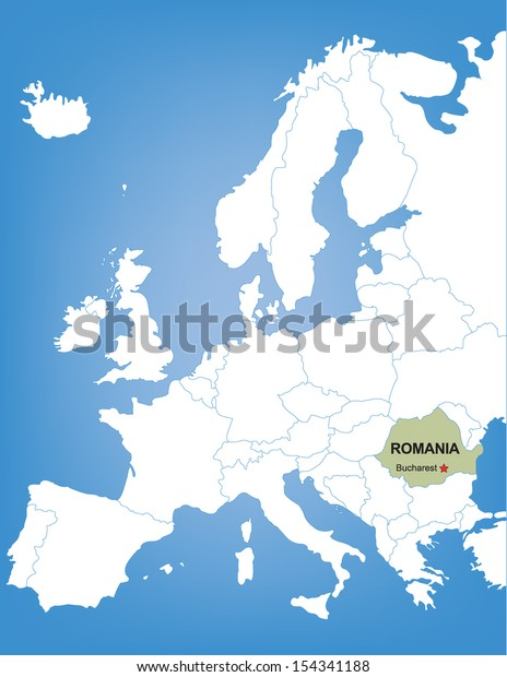 Vector Map Europe Highlighting Country Romania   Royalty ...