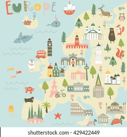 Vector map of Europe with sights, animals, trees and flowers in cartoon style